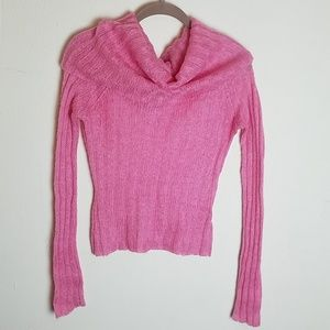Knitted Turtleneck Pink Sweater